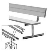 15' Players Bench Aluminum With Backrest - Permanent Mount