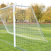 Soccer Goals - Classic Official Round Goal - Semi-Permanent with Standard Backstays (8'H x 24'W x 4'B x 10'D) - NFHS, NCAA, FIFA Compliant  (Pair)