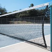 "Tennis Replacement Net with Center Strap (1-3/4"" Sq. - 3mm Polyethylene Knotted Mesh) (Outdoor) - Collegiate Tennis Net (42'L x 42""H) (Black)"