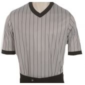 Women's Performance Mesh Grey w/Black Pinstripe V-Neck Shirt