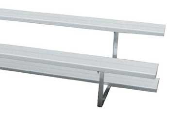 15' Bleachers Preferred Stationary 2 Row Aluminum With Color