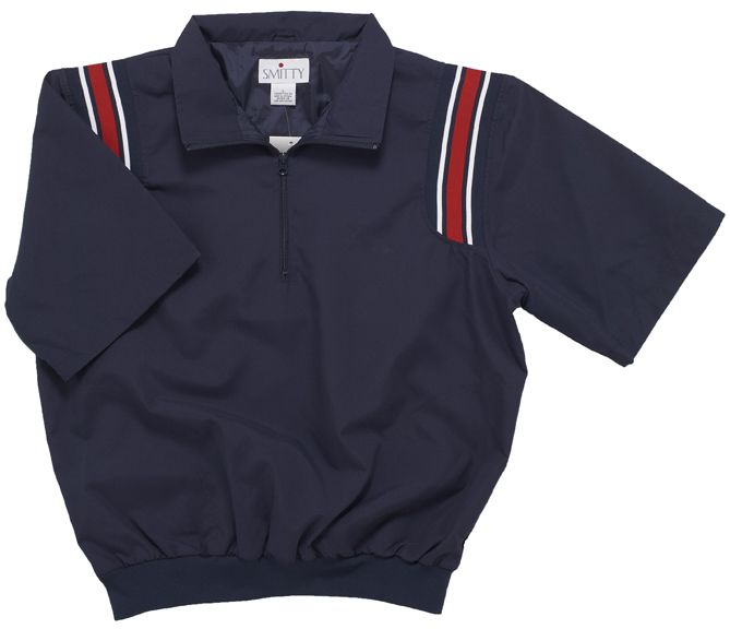 Smitty Umpire Jacket - Pullover Short Sleeve Jacket - Navy Blue with Red Shoulder Stripes - 4 XL